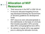 allocation of nvf resources