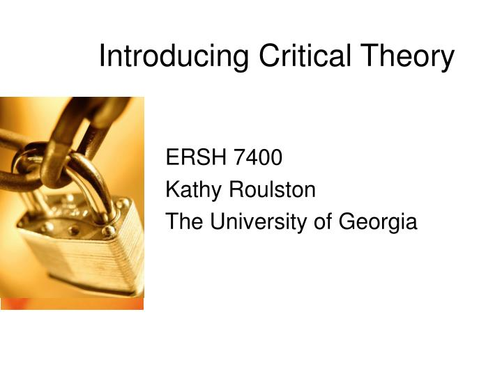 introducing critical theory n.
