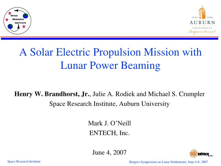 a solar electric propulsion mission with lunar power beaming n.