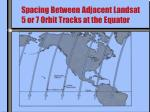 spacing between adjacent landsat 5 or 7 orbit tracks at the equator