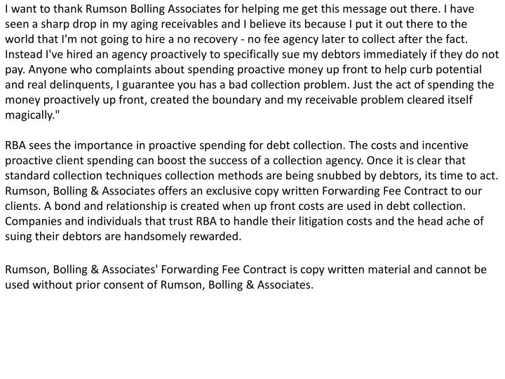 I want to thank Rumson Bolling Associates for helping me get this message out there. I have seen a s...