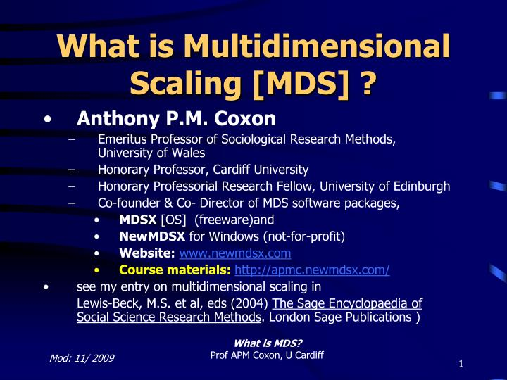 what is multidimensional scaling mds n.