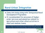 rural urban integration