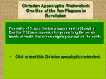 christian apocalyptic rhetorolect one use of the ten plagues in revelation