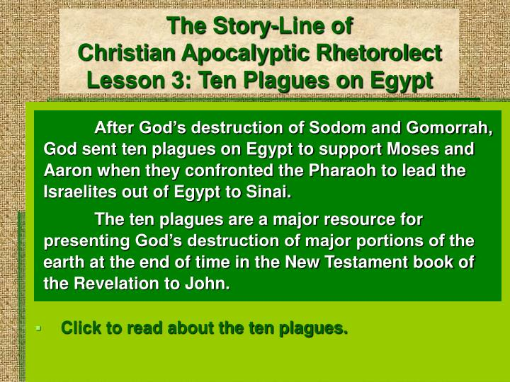 the story line of christian apocalyptic rhetorolect lesson 3 ten plagues on egypt n.