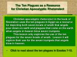 the ten plagues as a resource for christian apocalyptic rhetorolect