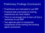 preliminary findings curriculum