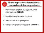 ensuring states adequately tax smokeless tobacco products
