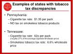 examples of states with tobacco tax discrepancies