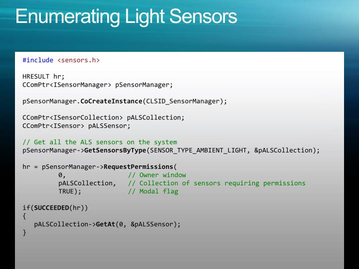 Enumerating Light Sensors