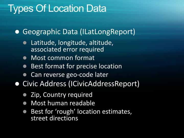 Types Of Location Data