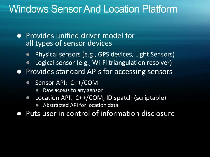 Windows Sensor And Location Platform