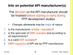 info on potential api manufacturer s