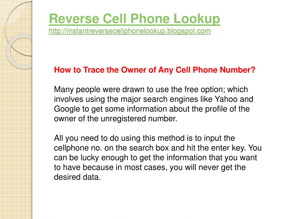 Reverse Cell Phone Lookup