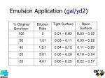 emulsion application gal yd2