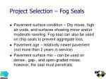 project selection fog seals