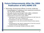 future enhancements after the 2006 publication of api asme 579
