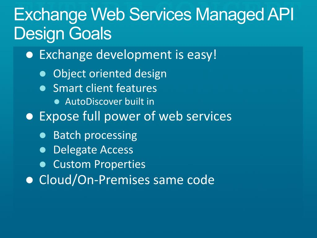 PPT - Exchange Web Services Managed API Unified