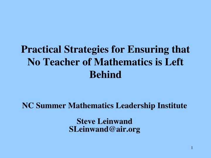 practical strategies for ensuring that no teacher of mathematics is left behind n.