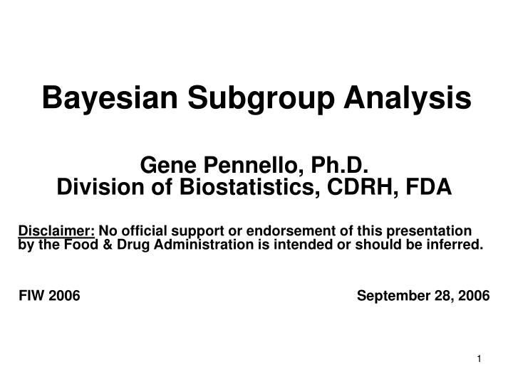 bayesian subgroup analysis n.