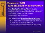 elements of ebm base decisions on best evidence