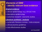 elements of ebm identify relevant best evidence1