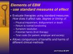 elements of ebm use standard measures of effect