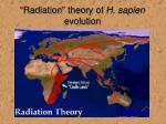 radiation theory of h sapien evolution