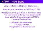 apm next steps