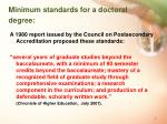 minimum standards for a doctoral degree