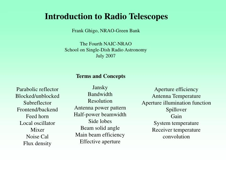 introduction to radio telescopes n.