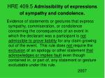 hre 409 5 admissibility of expressions of sympathy and condolence