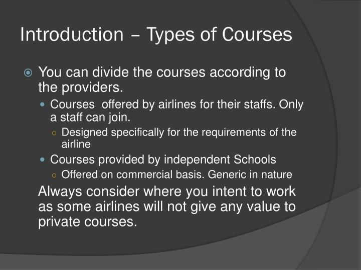 Introduction types of courses