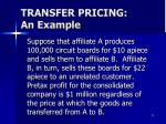 transfer pricing an example