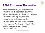 a call for urgent recognition
