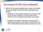 government no pay list continued
