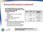 pricing information continued