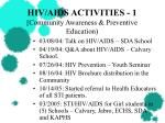hiv aids activities 1 community awareness preventive education