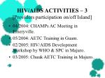 hiv aids activities 3 providers participation on off island