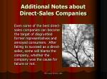 additional notes about direct sales companies