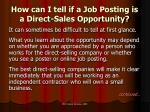 how can i tell if a job posting is a direct sales opportunity