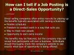 how can i tell if a job posting is a direct sales opportunity1