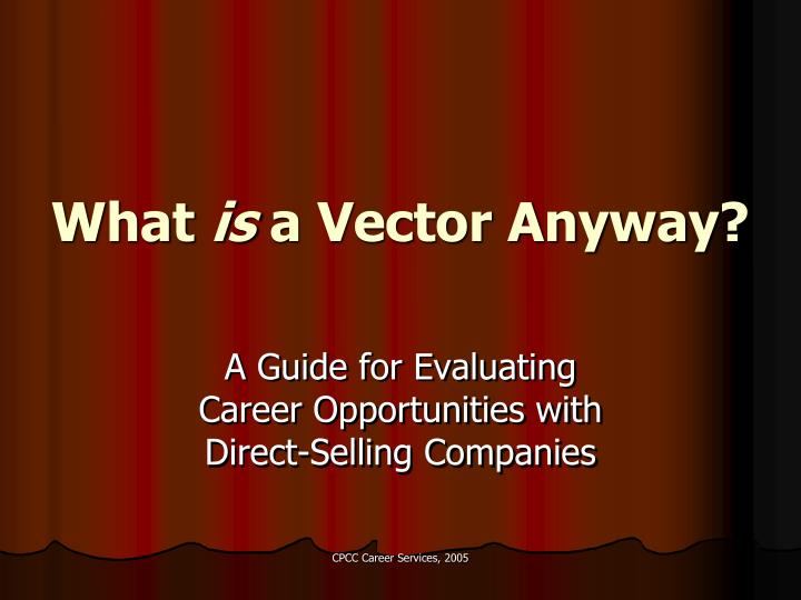 what is a vector anyway n.