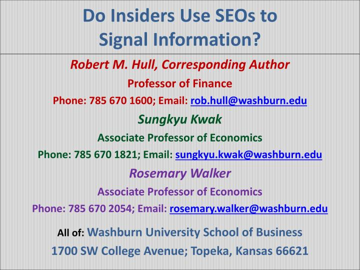 do insiders use seos to signal information n.