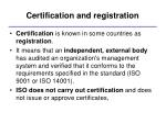 certification and registration