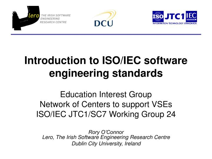 introduction to iso iec software engineering standards n.