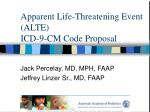apparent life threatening event alte icd 9 cm code proposal