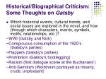 historical biographical criticism some thoughts on gatsby