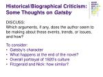 historical biographical criticism some thoughts on gatsby1