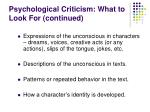 psychological criticism what to look for continued